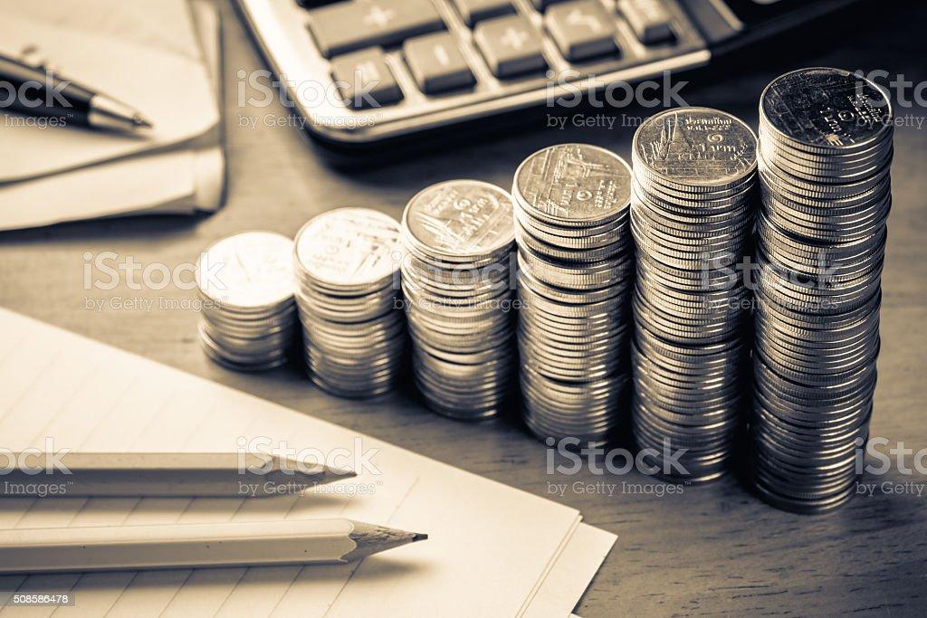 Heap coins stair stock photo