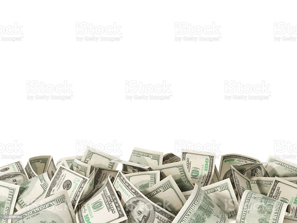 Heap of 100 Dollar Bills isolated on white background stock photo
