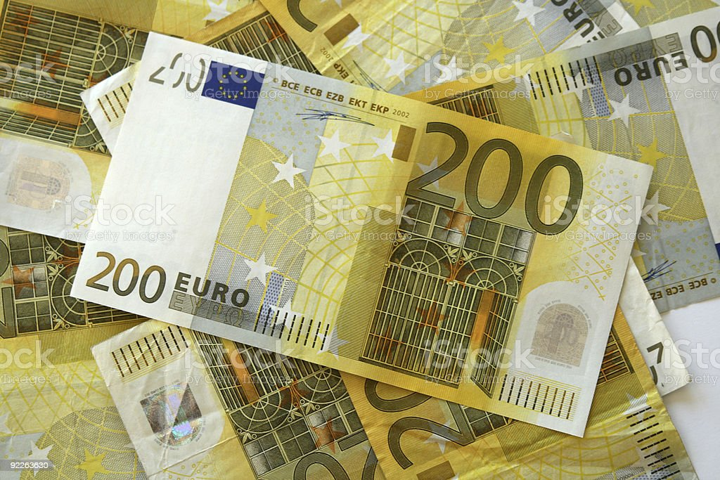 Heap of 200 euro notes royalty-free stock photo