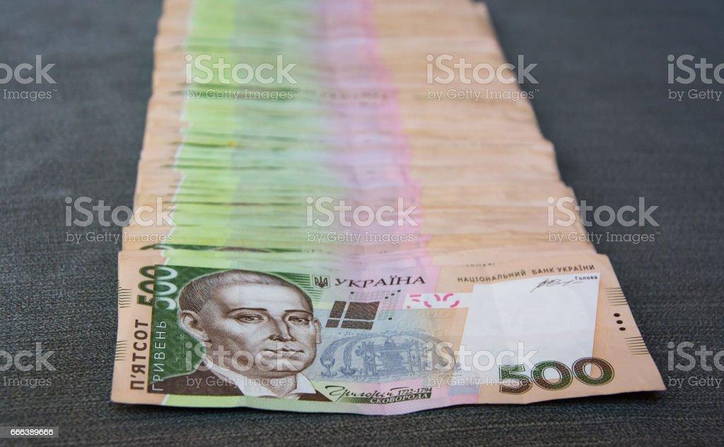 Heap of 500 hryvnya bills stock photo
