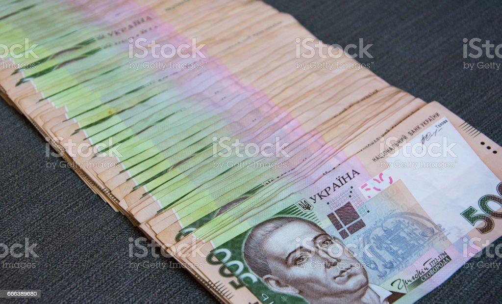 Heap of 500 hryvnya stock photo