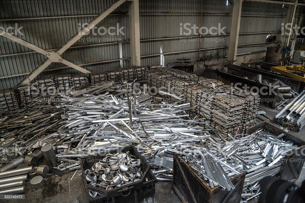 Heap of aluminium parts in scrap yard stock photo