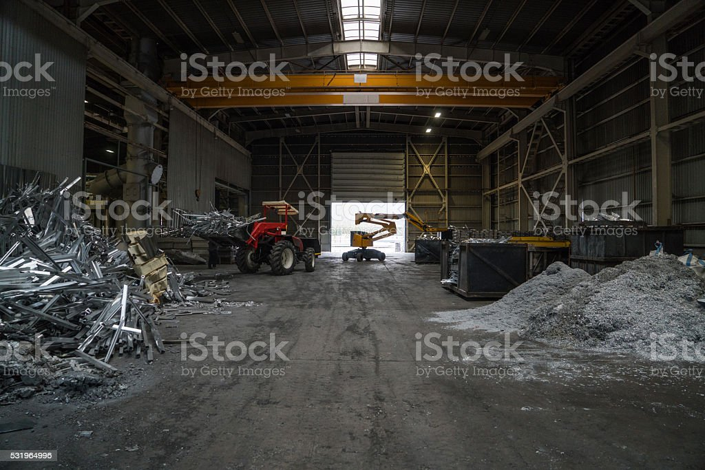 Heap of aluminium parts in scrap yard stock photo