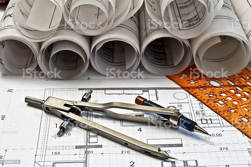 heap of architectural design and project blueprints drawings royalty-free stock photo