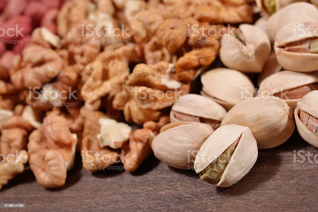 Heap of assorted nuts stock photo