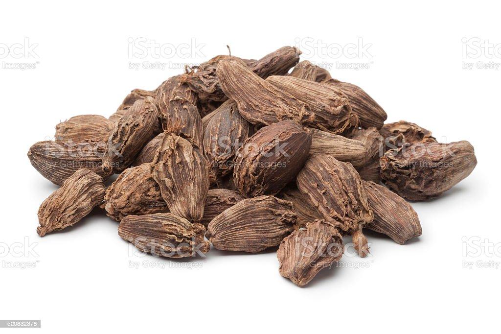 Heap of black cardamom fruit stock photo