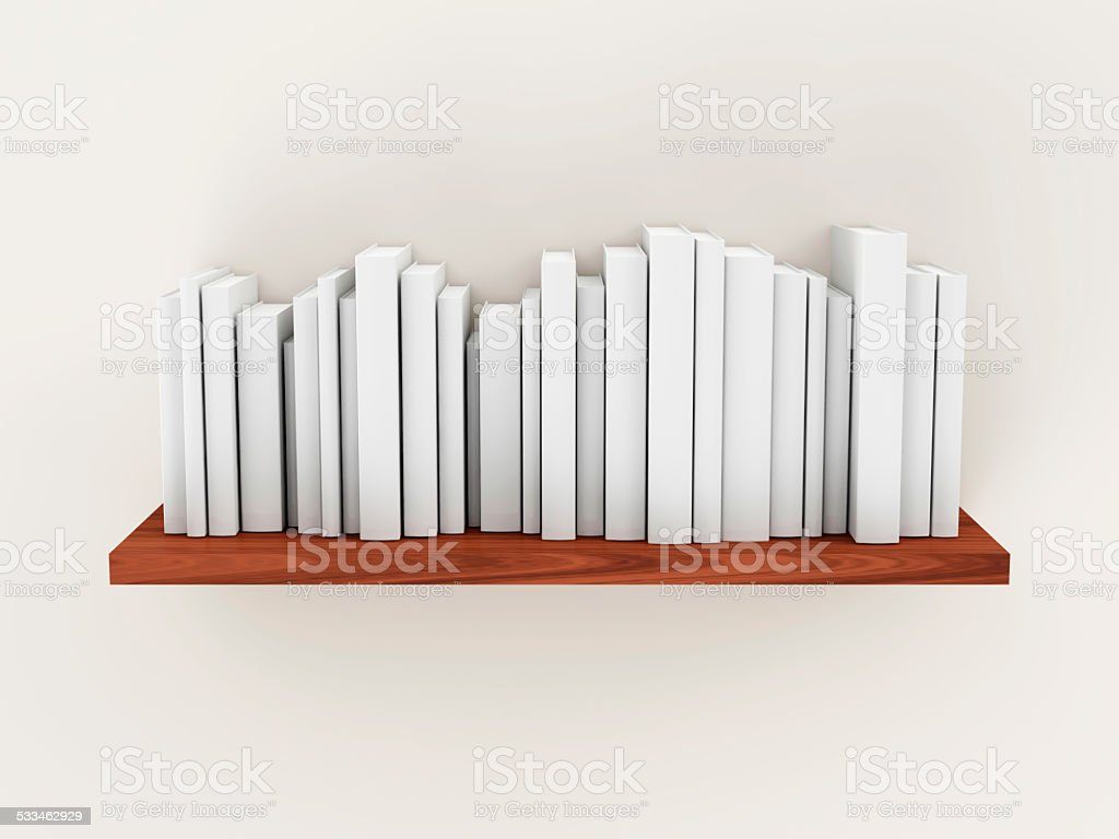 Heap of Blank White Books Standing on Wooden Shelf stock photo