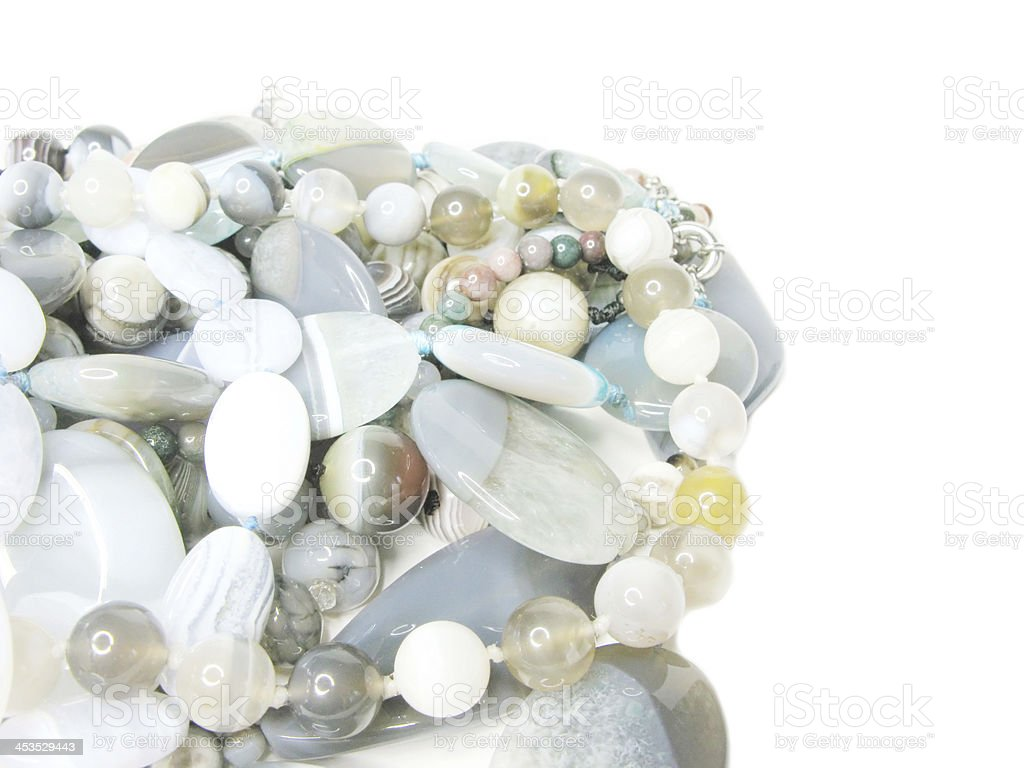 heap of blue and grey colored beads royalty-free stock photo