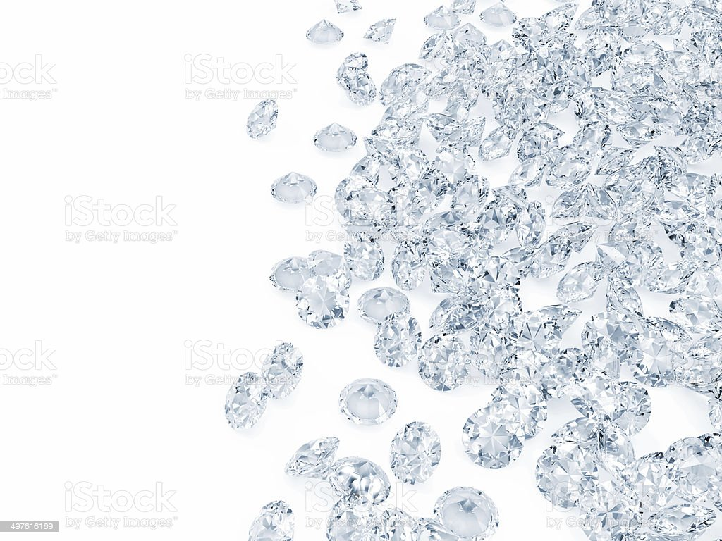 Heap of Blue Diamonds isolated on white background stock photo