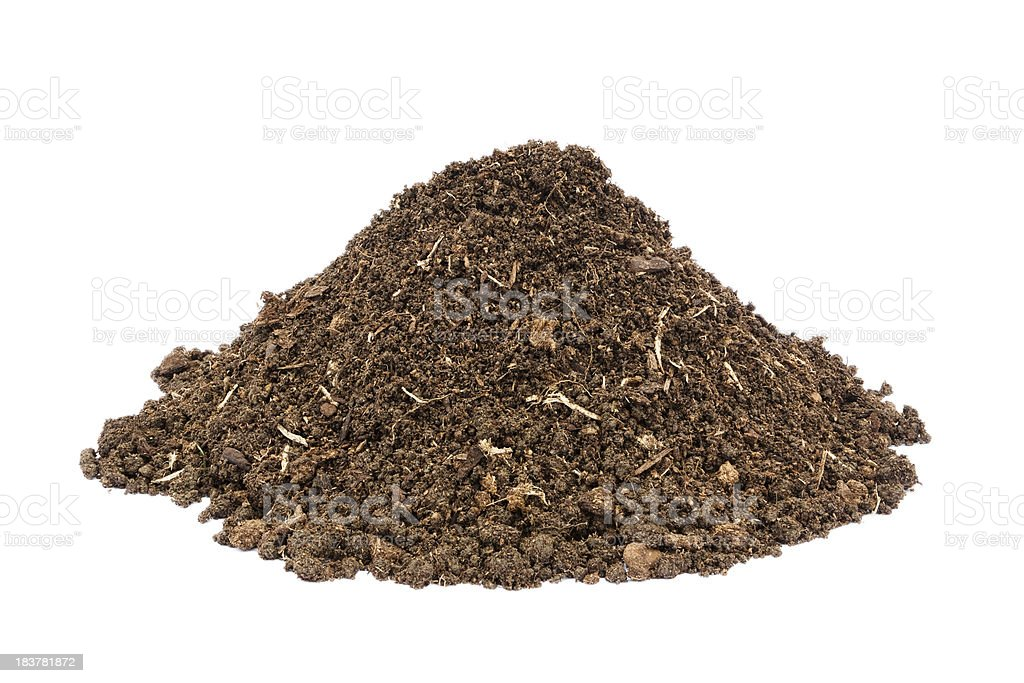 Heap of brown soil isolayed on white stock photo