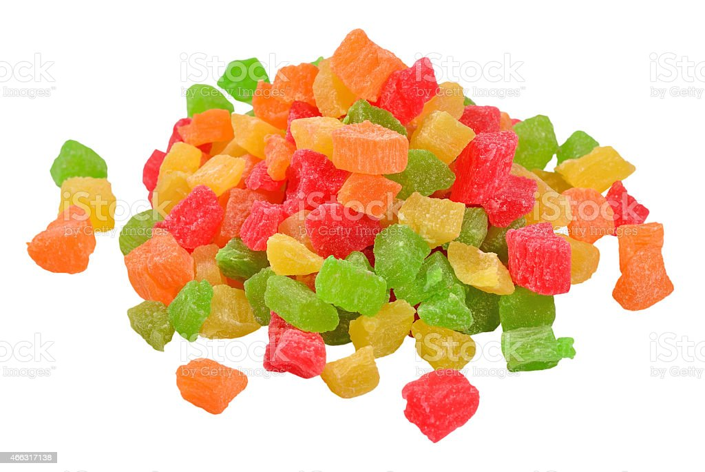 Heap of  candied fruits  on a white stock photo