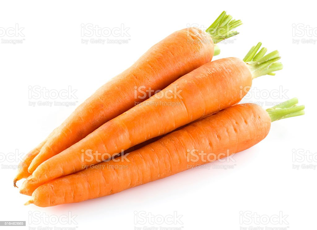 Heap of carrots isolated on white stock photo