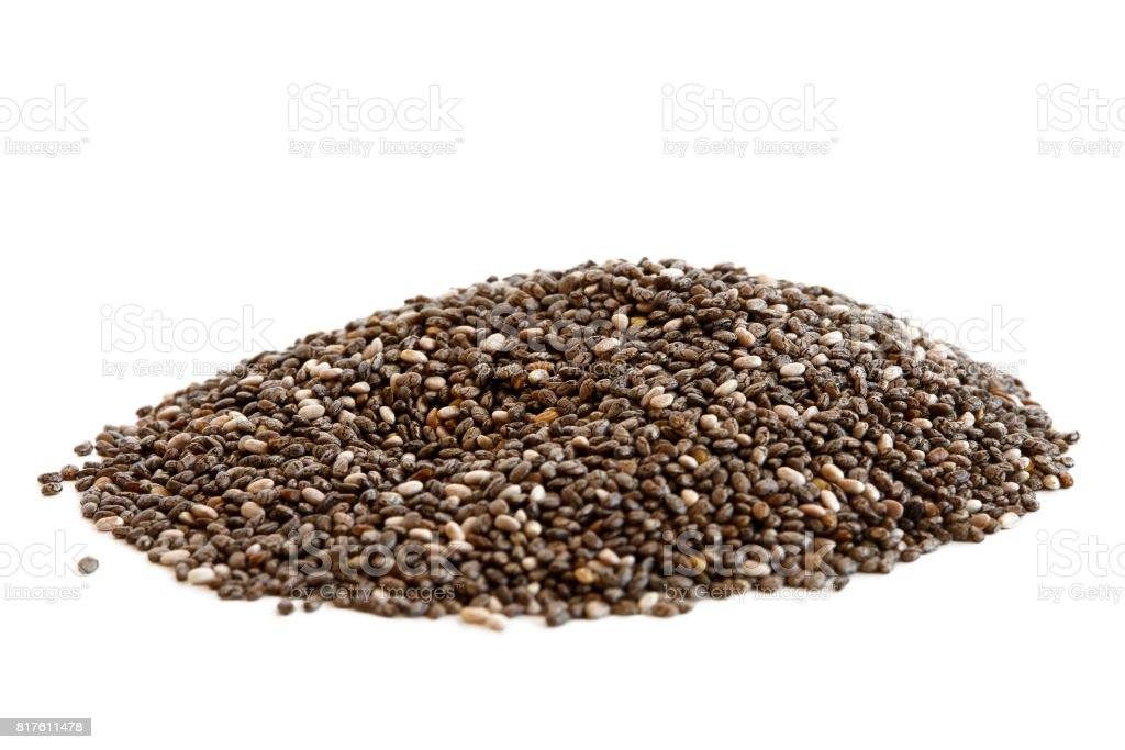 Heap of chia seeds stock photo