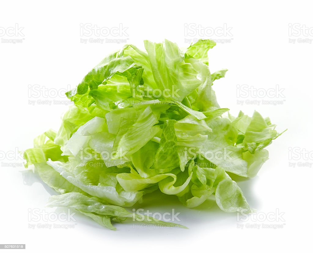 Heap of chopped iceberg lettuce stock photo