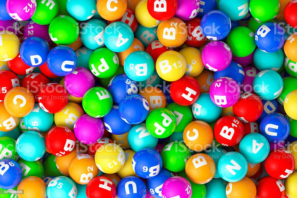 Heap of closeup color Vitamins sphere stock photo