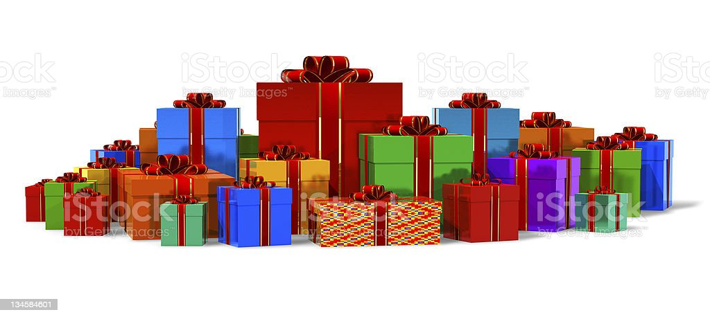 Heap of color gift boxes royalty-free stock photo