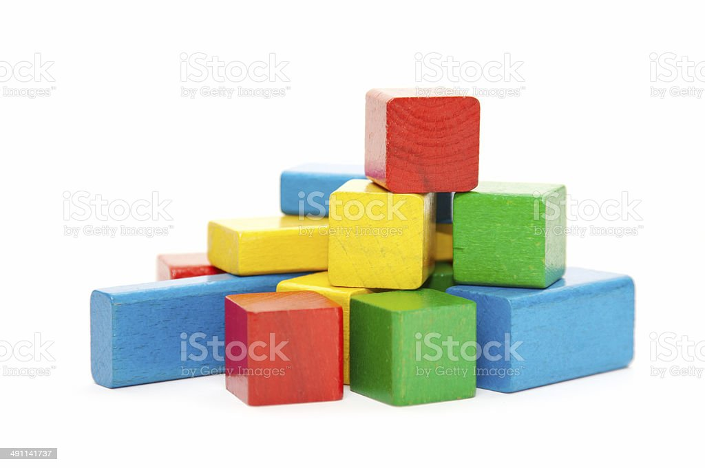 heap of color wooden bricks royalty-free stock photo