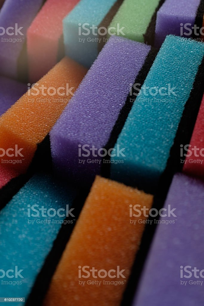 heap of colored kitchen sponges. stock photo