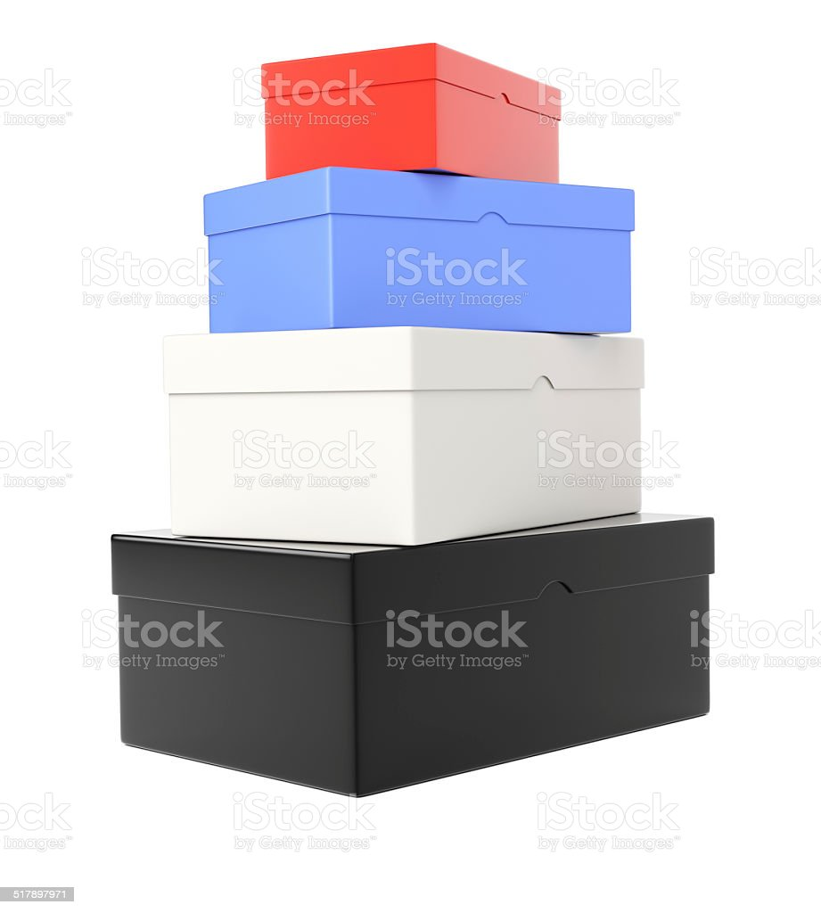 Heap of colored  shoeboxes stock photo