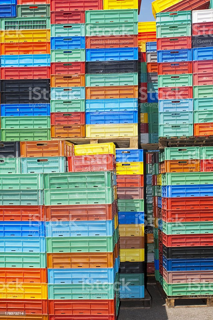 Heap of colorful plastic boxes. royalty-free stock photo