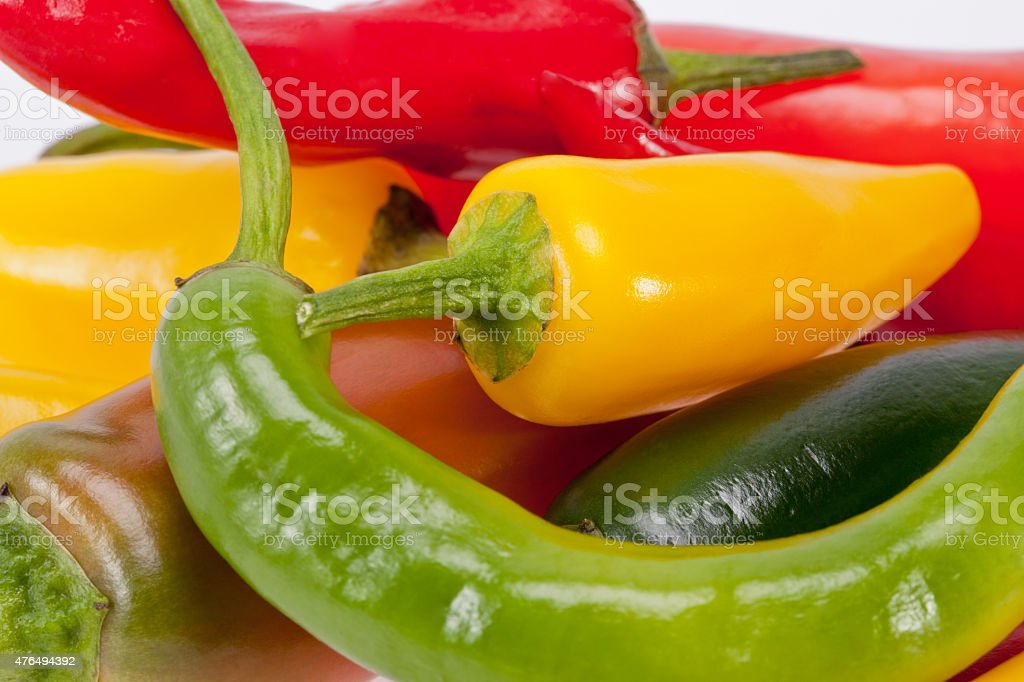 heap of colorful raw chili pepper stock photo