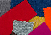 Heap of colorful textile patches
