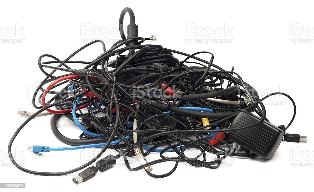 Heap of computer cables stock photo