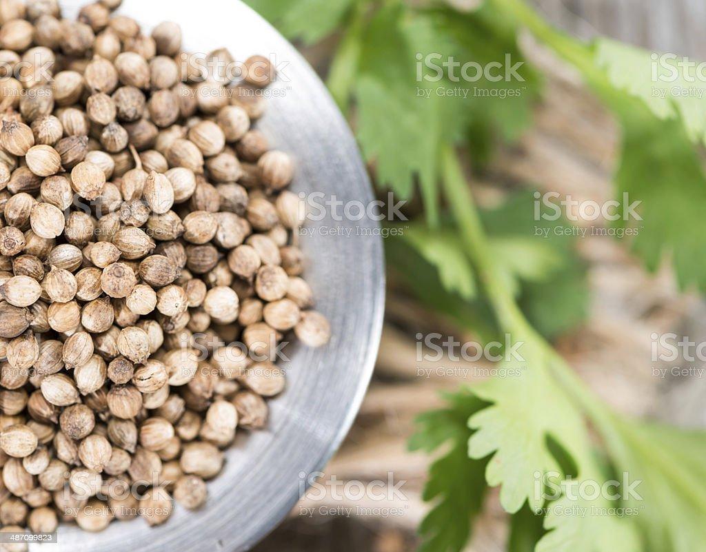 Heap of Coriander (seeds) stock photo