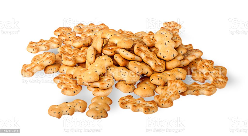 Heap of crackers with poppy seeds stock photo