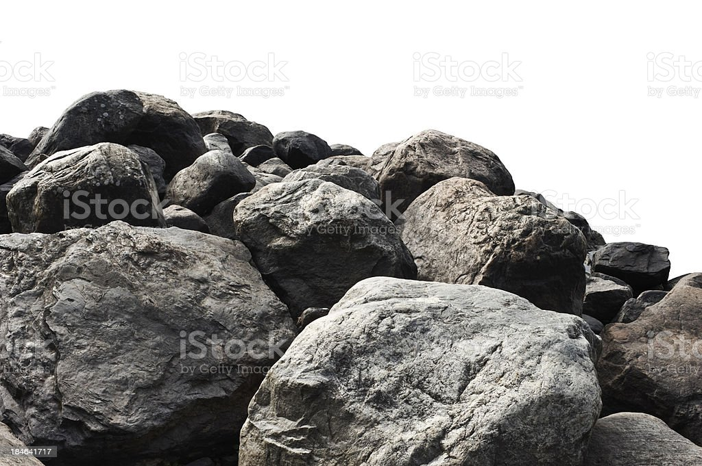 Heap of dark stones stock photo