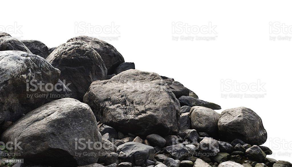 Heap of dark stones stock photo