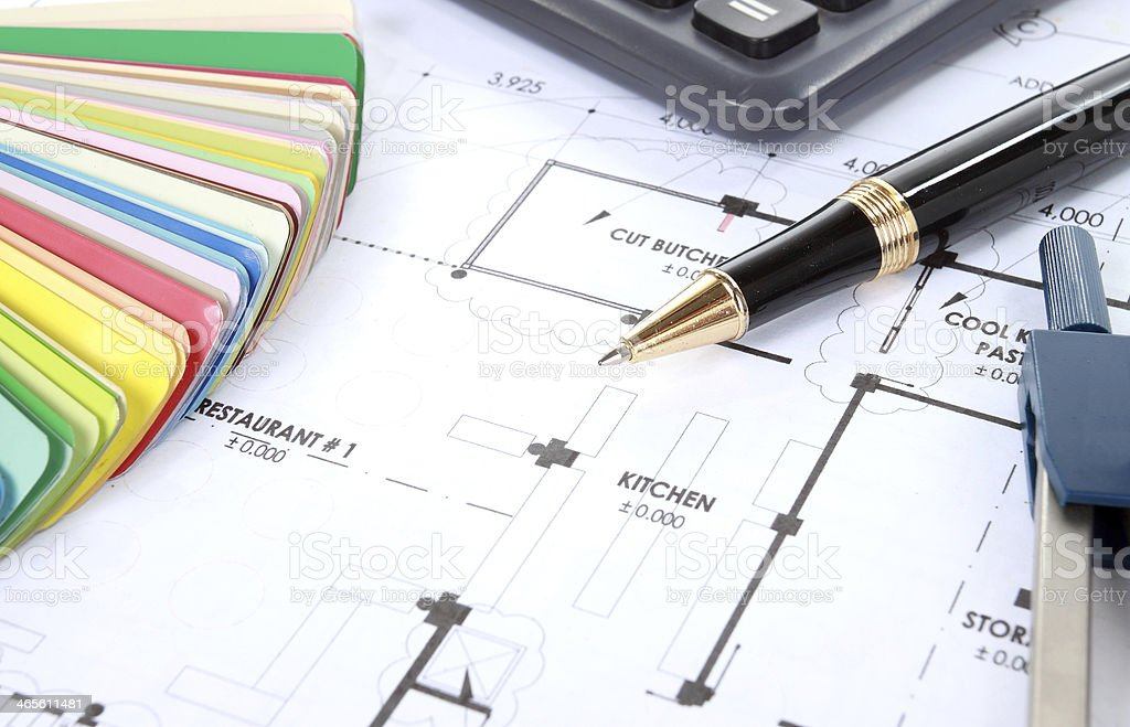 Heap of design and project drawings on table royalty-free stock photo