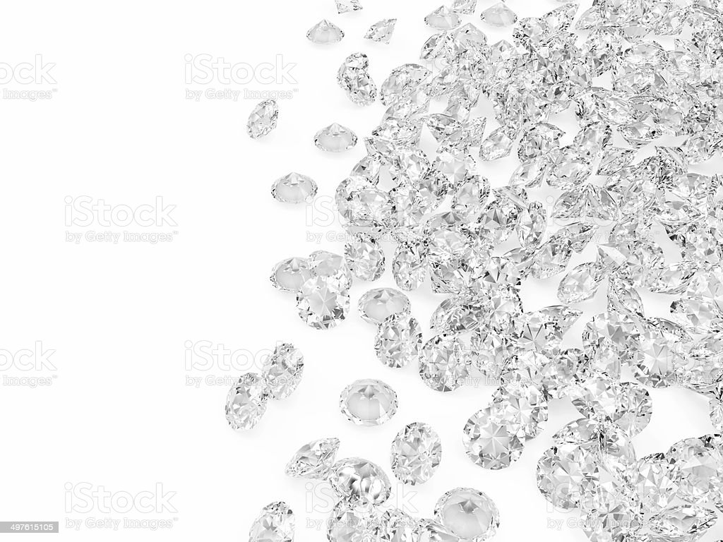 Heap of Diamonds isolated on white background stock photo