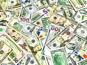 Heap of dollar bills abstract background.