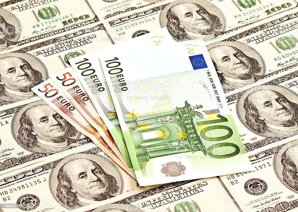 Heap of dollars and euro royalty-free stock photo