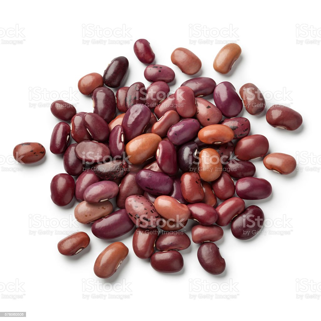 Heap of dried Ayuote Morado beans stock photo