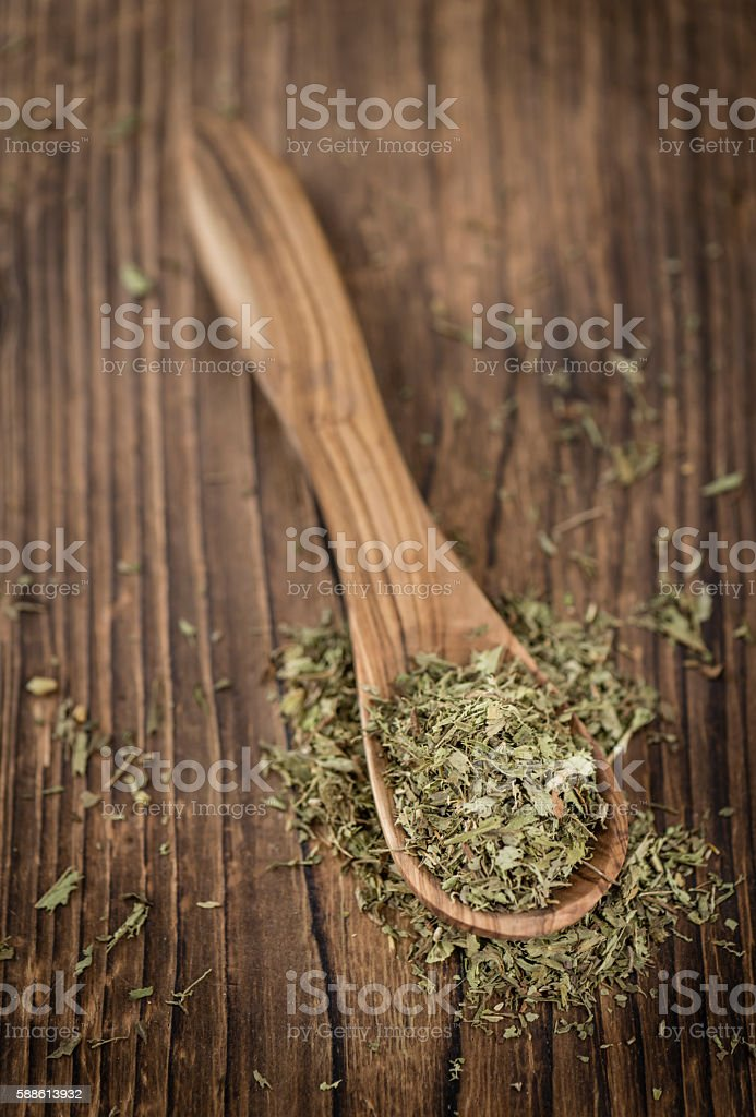 Heap of dried Stevia leaves stock photo