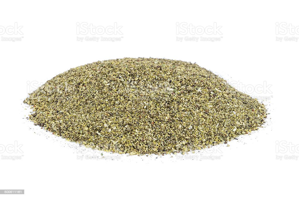 Heap of dried Winter Savory spice stock photo
