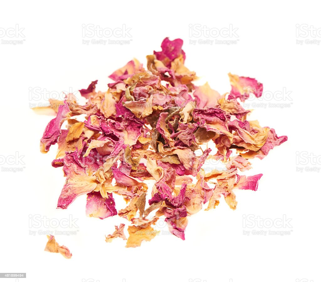 Heap of dry rose leaves isolated on white background stock photo