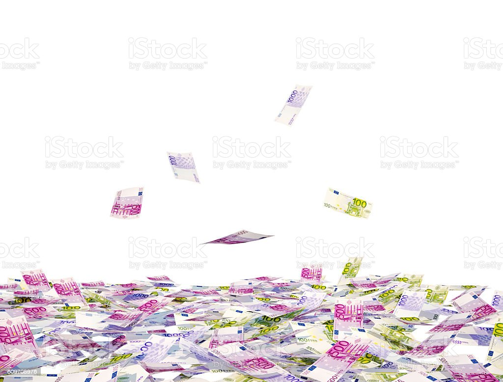 Heap of EUR bills and falling bills isolated on white. stock photo