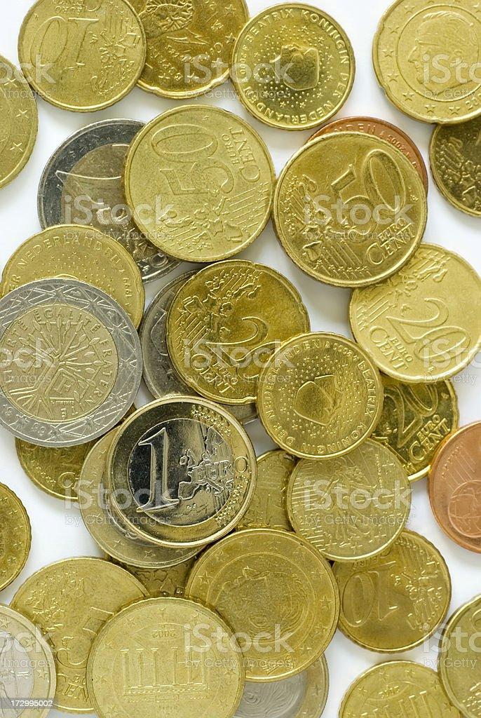 Heap of Euro Coins on White royalty-free stock photo