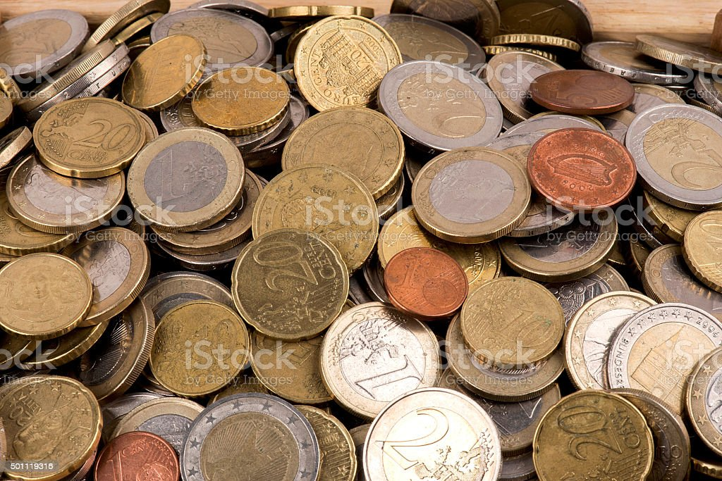 Heap of Euro Coins stock photo