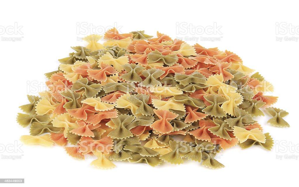 Heap of farfalle pasta. stock photo