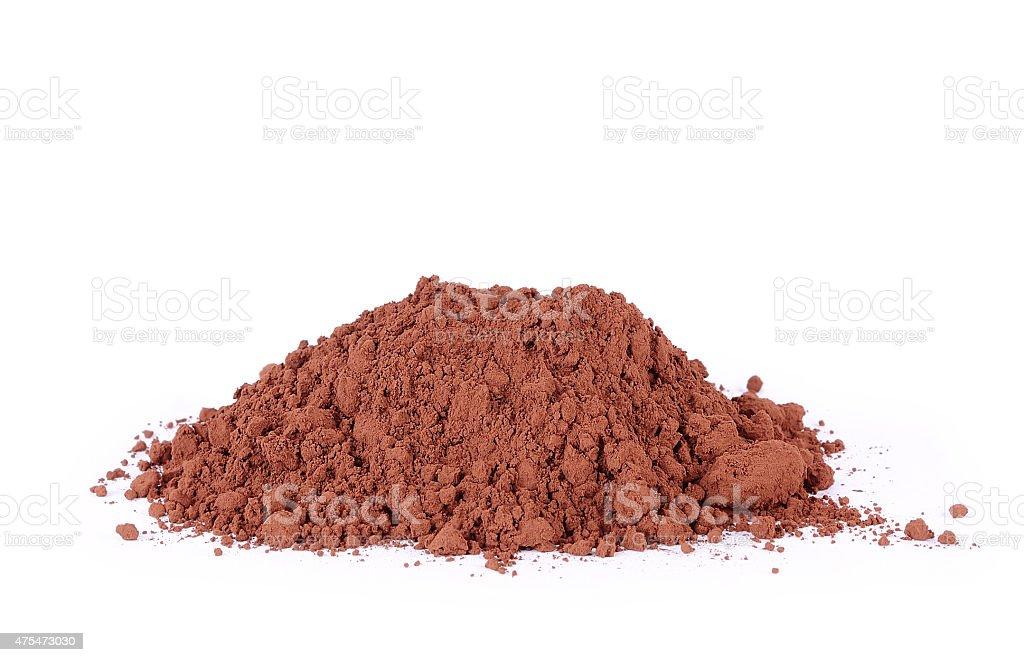 Heap of fresh cacao powder, on white ckground stock photo