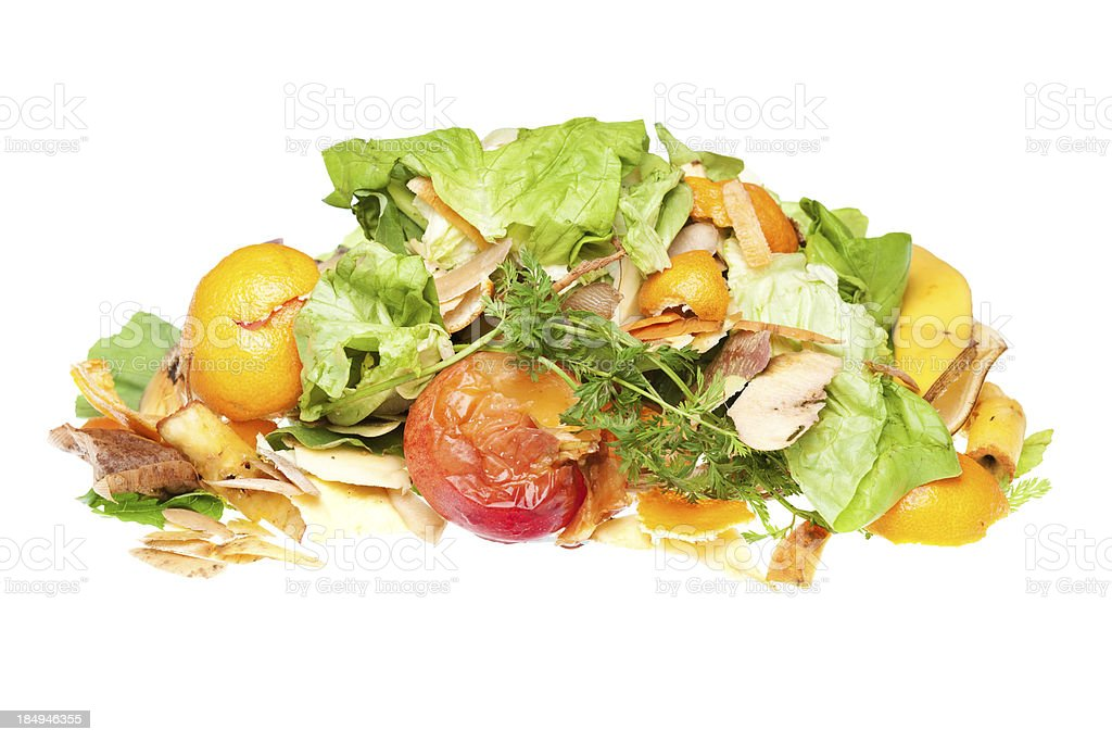 Heap of fruit and vegetable scraps for recycling royalty-free stock photo