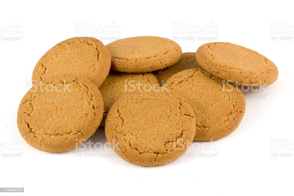 Heap of ginger biscuits stock photo
