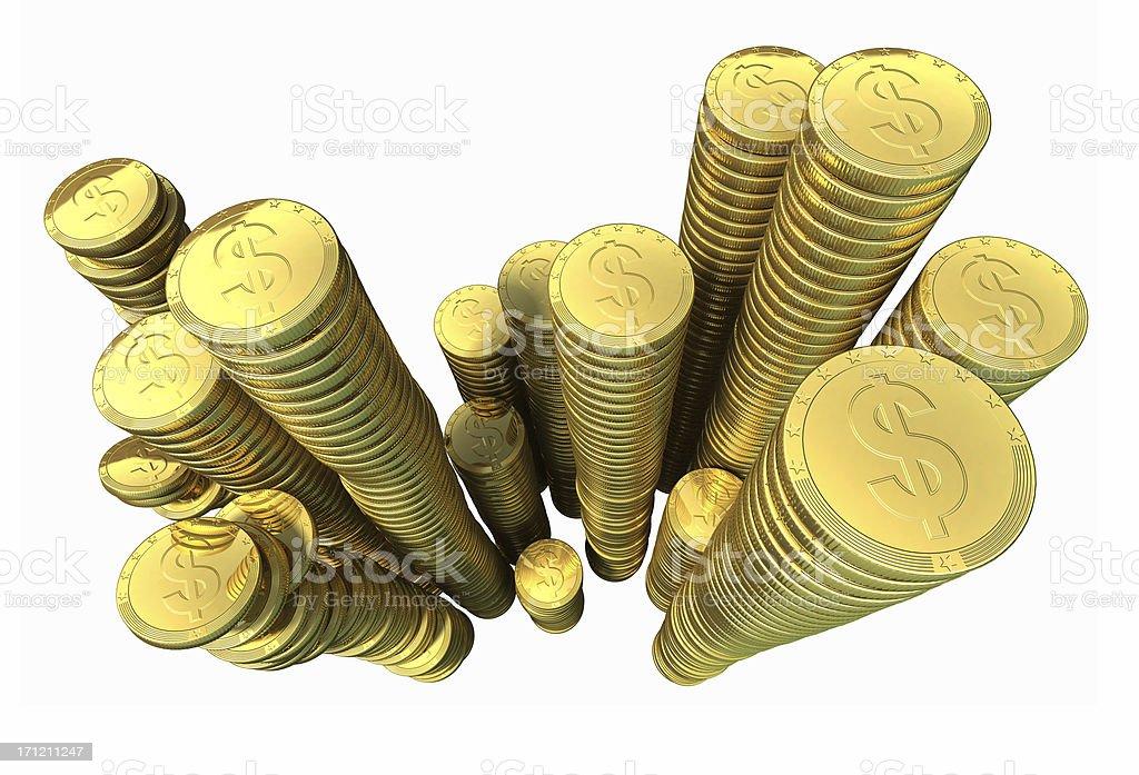 Heap of gold money stock photo