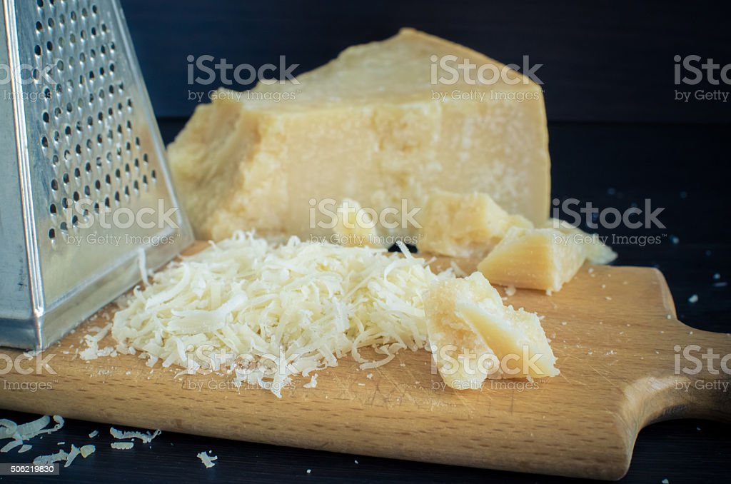 Heap of grated Parmesan stock photo