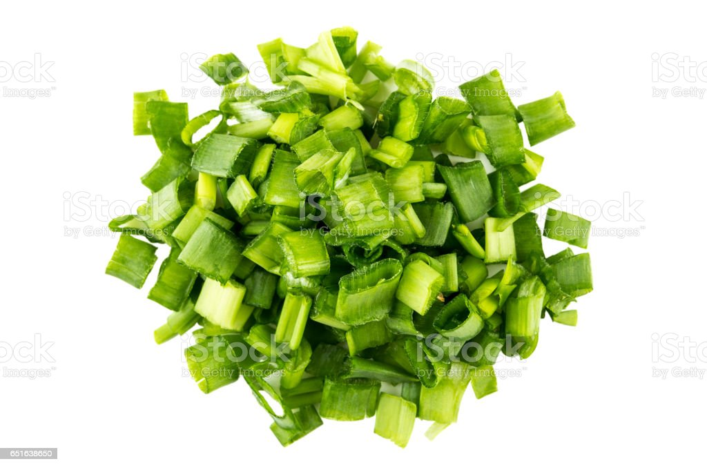 Heap of green onions isolated on white stock photo
