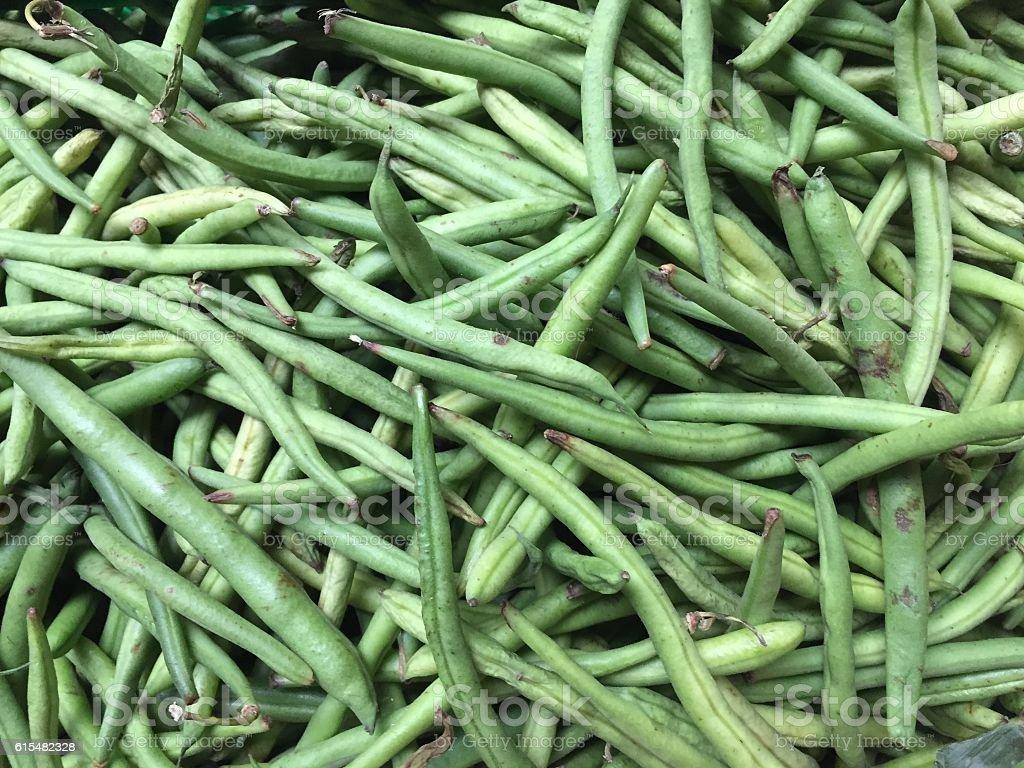 Heap of green string beans stock photo